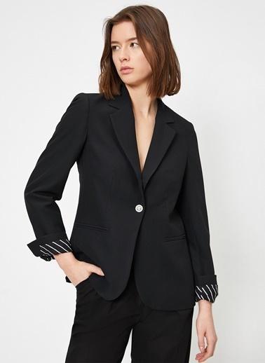 Koton Koton Düğme Detaylı Siyah Ceket Siyah